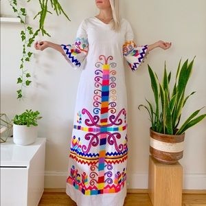 Vintage 60s embroidered bell sleeve maxi dress